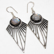 """Style Earrings 2.7"""" Gift Gw Rainbow Moonstone 925 Silver Plated Vintage"""