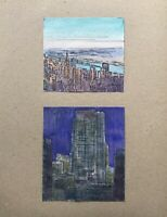 Georg Schott *1906 Blick auf New York Manhattan Hudson River Skyline 2 Aquarelle