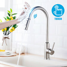 Brushed Nickel Touchless Kitchen Faucet Pull Down Sprayer Stainless Steel Faucet