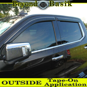 2019-2021 Chevy Silverado GMC Sierra Crew Cab SMOKE Door Vent Visors Rain Guard