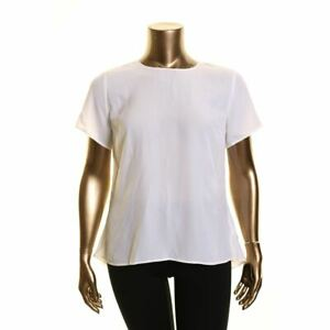 MICHAEL KORS NEW Women's White High-low Peplum Blouse Shirt Top XL TEDO