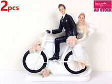 2 x Romantic Bride & Groom On Bicycle Get Away Wedding Cake Topper GKISC30