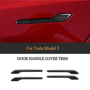 4xCarbon Türgriffabdeckung Schutz Außen Trims für Tesla Model 3 2017-19 Schwarz