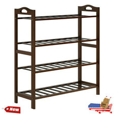 4-Tier Natural Bamboo Wooden Shoe Rack Home Organizer Stand Storage Shelf Unit