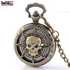 Bronze Steampunk Skull Head Skeleton Vintage Mechanical Windup Pocket Watch Gift