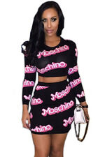 Black with Pink Moschino Print Long Sleeve Skirt Set Party Wear Size UK 10
