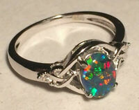 "Opal Ring Genuine Australian Natural ""Gem"" Grade Triplet - Sizes 6.5 to 7.5 US"