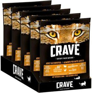 CRAVE Premium Trockenfutter Truthahn & Huhn für Katzen Getreidefreies 5 x 750 g