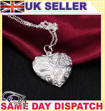 fashion heart shaped silver necklace photo locked pendant chain gift present