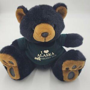 "Grizzly Bear Realistic Soft Plush Black 12"" Removable Alaska Regent Star Sweater"