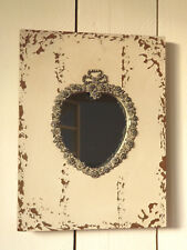 Spiegel Clayre & Eef Wandspiegel Holz creme Herz 23 x 30cm Shabby Vintage NEU