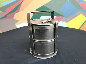 Old Original 2 Compartments Heavy Brass with Nickel Coating Round Tiffin Box