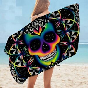 Adult Bath Towel Colorful Skull Microfiber Beach Galaxy Mandala Summer Blanket