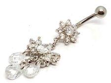 PURE plata 925 Colgante Flor Ombligo Barra Botón Anillo de pesas piercing