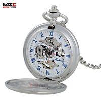 Mens Silver Steampunk Windup Mechanical Skeleton Pocket Watch Fob Chain Antique