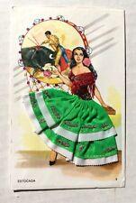 Vintage Silk Embroidered Post Card Beautiful Spanish Lady Dreams of Matador