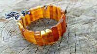 Unique Stretch Baltic Amber Bracelet Handmade Natural  18.3 Grams! Rectangle