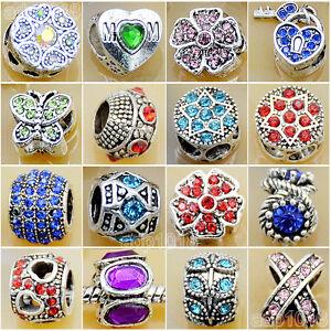 Wholesale Rhinestone Tibet Silver Big Hole Spacer Beads Fit European Bracelet
