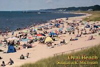 Oval Beach, Saugatuck Michigan, Lake MI Swimming & Sun Bathing, Pier -- Postcard