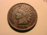 1899 Indian Head Penny Cent Ch VG+ Original Brown Tone