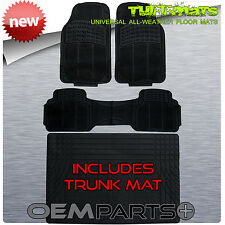 TUFFMATS 4PC FLOOR MATS Combo with TRUNK Liner Universal for SEDANS COUPES New