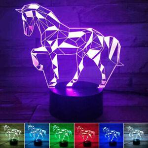 3D Pferd LED Tischlampe Lampe Nachttischlampe Leselampe 7 Farbe Weihnachten Deko