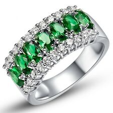3Ct Oval Cut Green Emerald Diamond Engagement Ring Vintage 14K White Gold Over