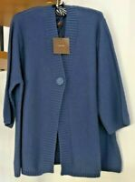 ☆SAVIOUR Thicker Knit Stretchy Cardigan, Blue☆Plus Size 28☆Brand new with tags!☆