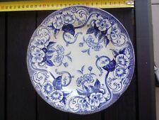 Ancienne assiette creil et montereau decor flora bleu 23 centimètres