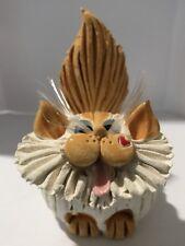 Sherri Pence Handmade Ceramic Orange & White Cat Business Card Holder Figurine