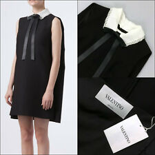 NEW $4000 Valentino Black Bow White Collar Cape Tuxedo Cocktail Dress Size IT38