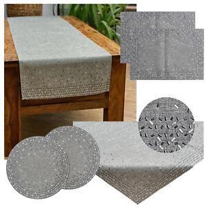 Tischdecke Tischläufer Platzset Grau Silber Nieten Applikation Tischdeko Typ712