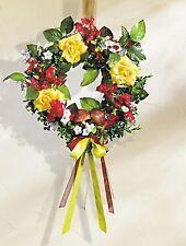 Tür- oder Wandkranz, gelbe Rosen und rote+weisse Blüten, 28cm, neu