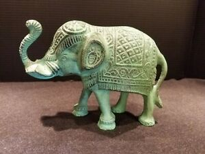 Cast Iron ELEPHANT Figurine Metal Collectible Statue Green Patina Large