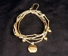 """5-Band Tube Bead Bracelet, w/Inscribed Charm """"Miracle"""", White or Yellow Brass"""