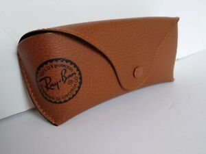 Ray Ban Brown Tan Leather Case for Sunglasses with Cleaning Cloth Travel Case
