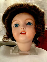 """1983-3 1/2"""" PORCELAIN DOLL HEAD-Wig- Hand Painted- Blue Eyes-Pierced Ears-Signed"""