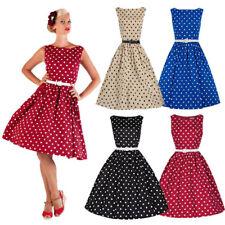 AU Vintage 50s Style Dot Retro Rockabilly Swing Dress Plus Size Polka Dot