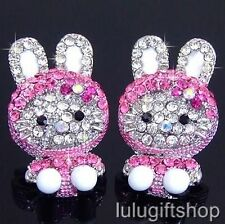 18K WHITE GOLD PLATED HELLOKITTY CAT RABBIT STUD EARRINGS USE SWAROVSKI CRYSTALS