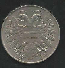 AUSTRIA,  1934,  1 SCHILLING,  COPPER NICKEL,  EXTRA FINE,  KM#2851 (02)