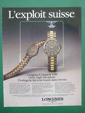 1980'S PUB MONTRE SWISS WATCH LONGINES CONQUEST VHP ORIGINAL FRENCH ADVERT