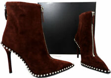 Alexander Wang ERI Studded Pointy Toe Boots Ankle Booties 37.5 Cranberry Suede