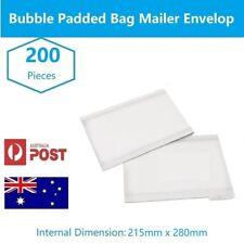 200pcs 215 x 280mm Bubble Padded Bag Mailer White Plain Kraft Cushioned Envelope