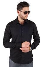 Black Tailored Slim Fit Men's French Cuff Dress Shirt Spread Collar By AZAR MAN