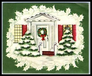 1930s Christmas Card - Pop Up - Winter Scene Front House - Opens