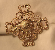 Textured Goldtone Parklane Starry Brooch Pin Lovely Lacy Open Heart Armed Pebble