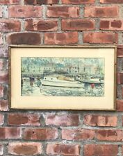 C1940's Carle Michel Boog Original W/C Boats At Dock Mill Basin Brooklyn. Signed
