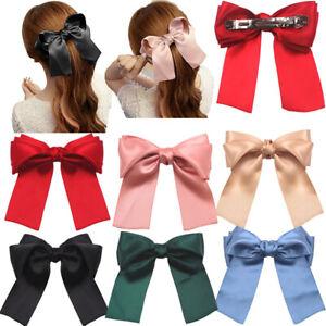 Ribbon Large Bow Hairpin Hair Clip Women Satin Spring Barrette Hair Accessories