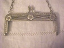 SMALL Vintage SILVER TONE PURSE FRAME  W/EMBOSSED FLOWERS & FILAGREE WORK