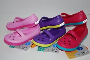 NWT CROCS CROCBAND AIRY HEARTS FLAT PINK PURPLE 6 8 9 10 TODDLER shoes MARY JANE